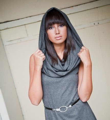 Chelsey  sleeveless dress with oversized cowl in grey  by tangente from etsy.com