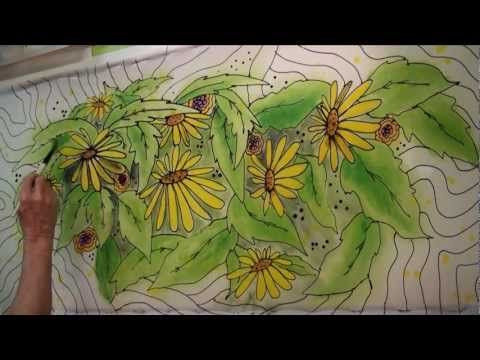 TEXTURE;VISUAL Hand Painted Fabric - speed painting - YouTube #paintfabric