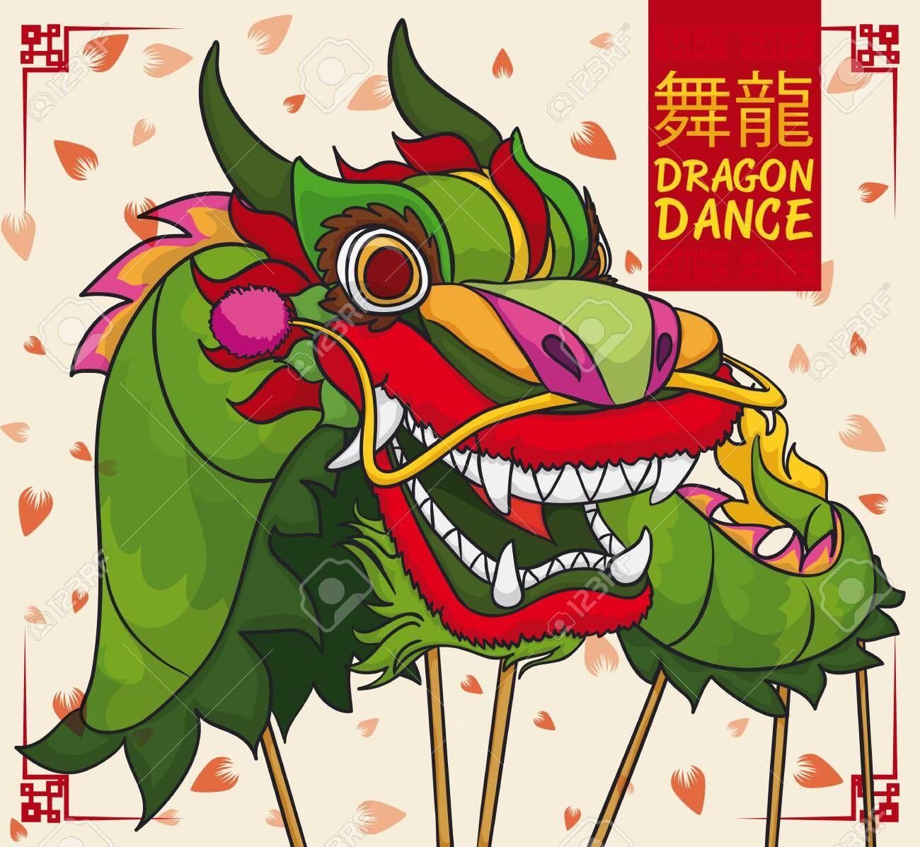 Cartoon poster with beautiful Chinese green dragon dancing