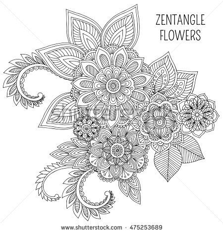 Floral Nature Ornate Decorative Tribal Compositions Black And White Monochrome Background Zentangle Hand Drawn Coloring Book Page Vector Set