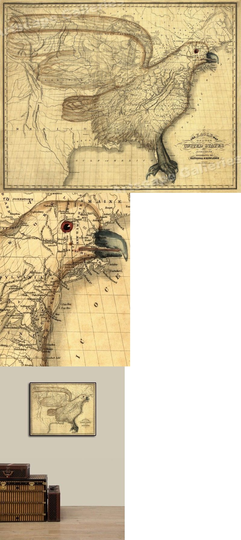 Maps Atlases And Globes 37958 1830s Eagle Map Of The United States - Early-us-maps