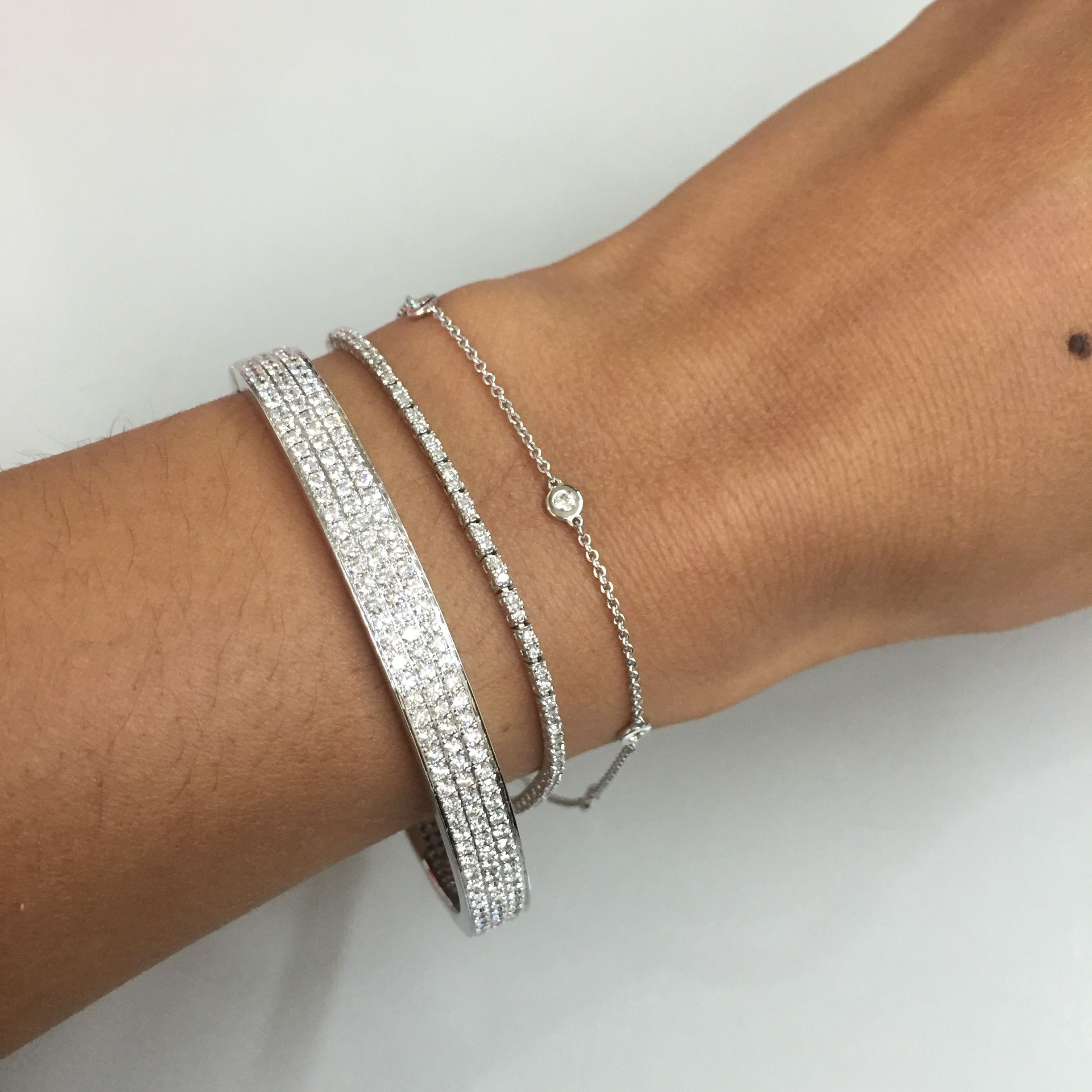 diamond bangle sterling bezel child bangles bracelets views s silver set more stackable bracelet