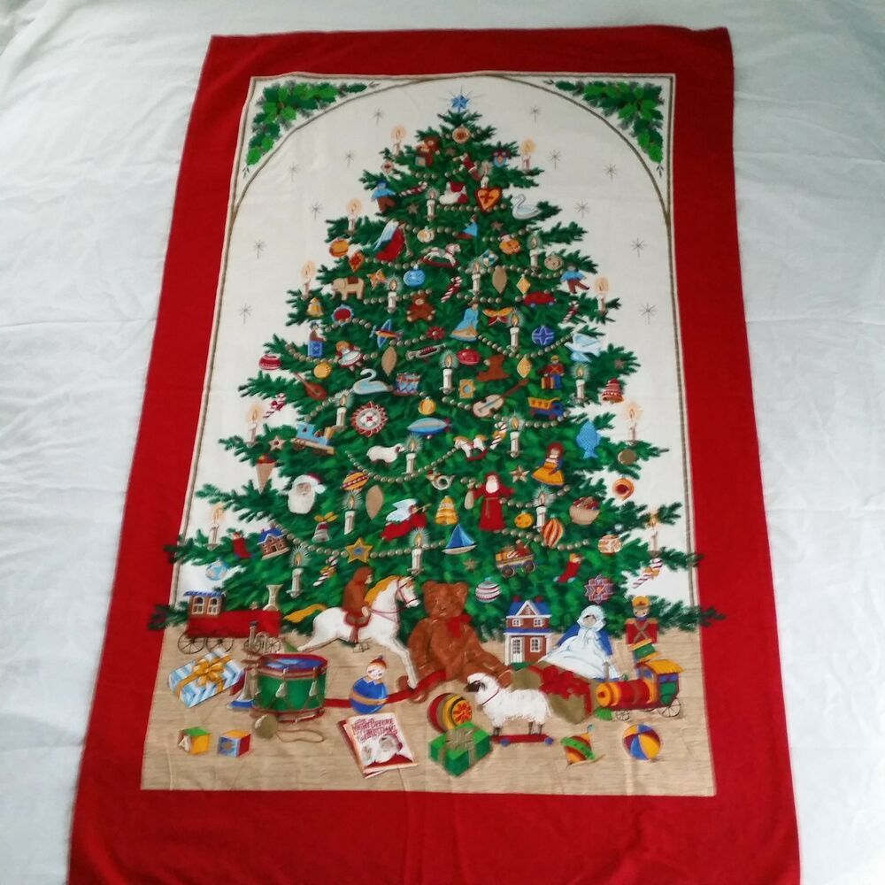 Christmas Tree Fabric Panel Door Wall Hanging Red Vip Cranston Holiday Print Cranston Christmastree Pane Holiday Prints Christmas Tree Large Christmas Tree