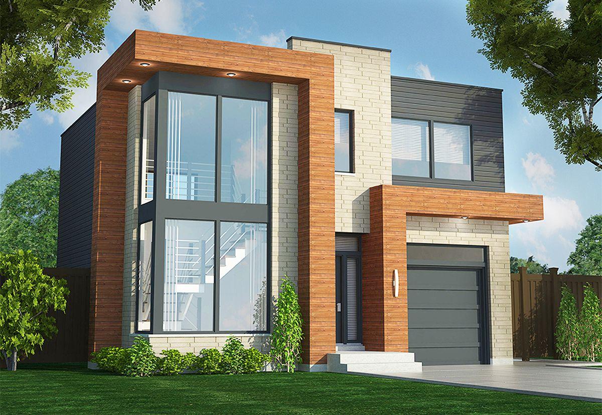 Plan 90290pd Contemporary Duplex Small Modern House Plans Contemporary House Plans Morden House
