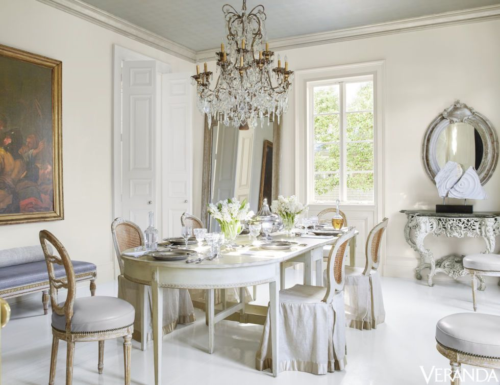 antique swedish cane chairs in donghia linen slipcovers oval mirror tara shaw maison - Veranda Dining Rooms