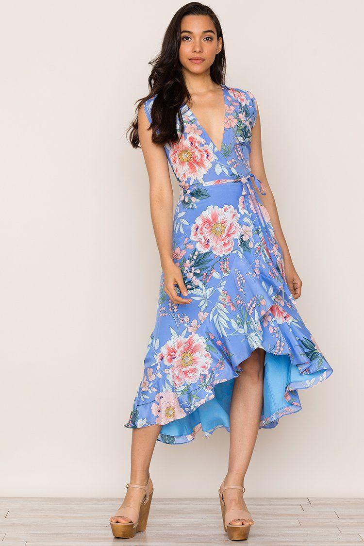483147503b88 Santorini Silk Dress   High Low Midi Dress   Blue Floral Dress – Yumikim