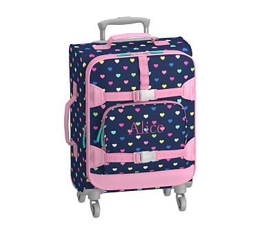 Small Spinner Luggage, Mackenzie Navy Multicolor Heart