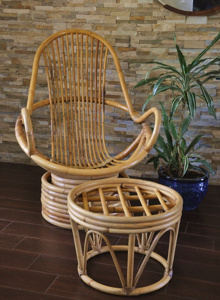Bamboo Rattan Swivel Chair With Ottoman Vintage Rattan Lounge
