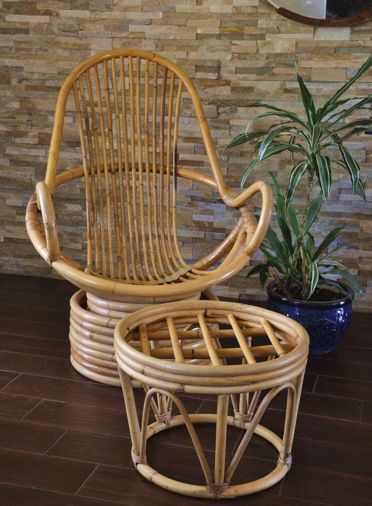 Bamboo Rattan Swivel Chair With Ottoman  Vintage Rattan Lounge Swivel Chair  #ClassicRattan