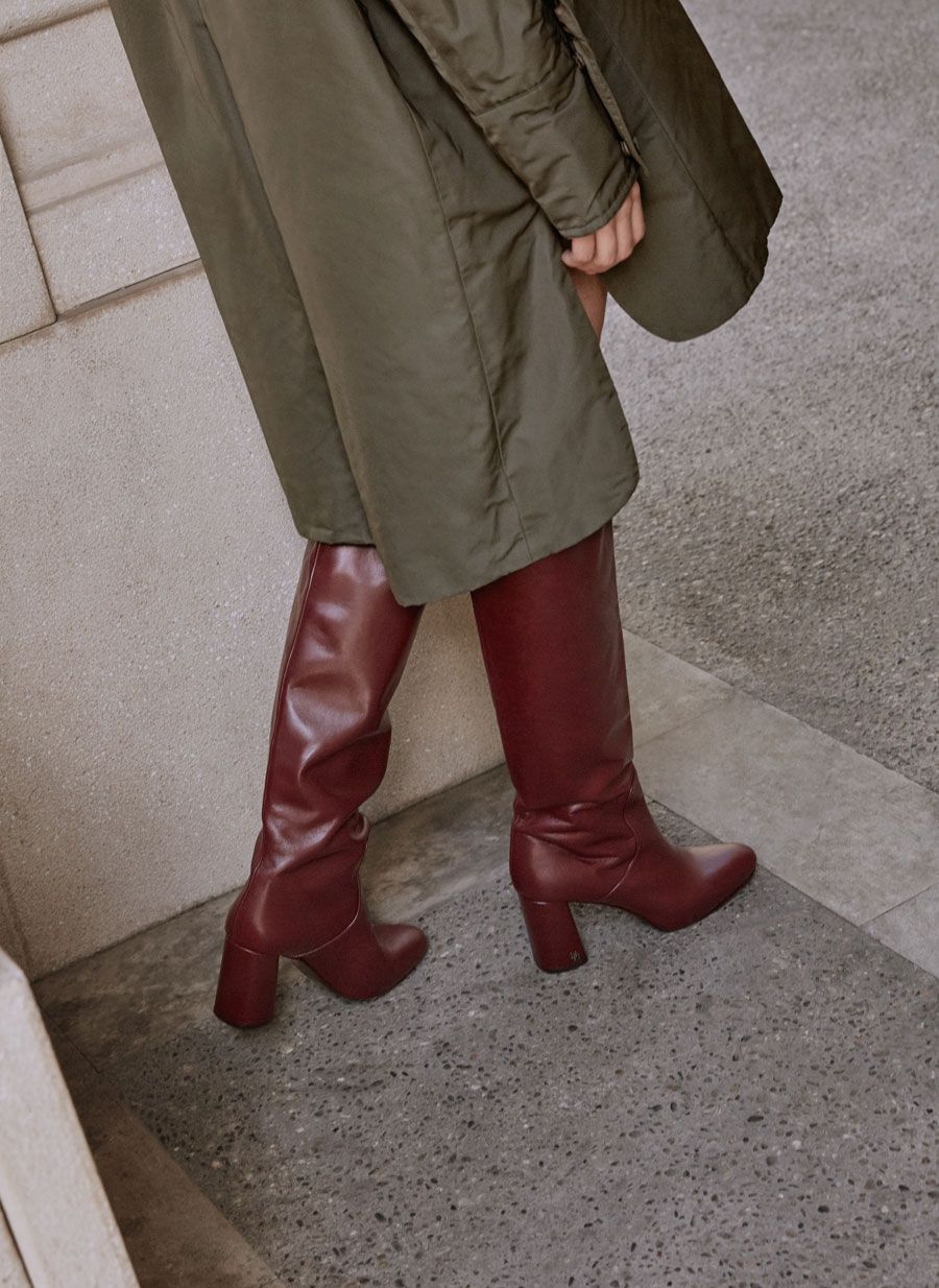 84ff2f22b21 Uterqüe Spain - Canary Islands Product Page - Footwear - Boots - Tall  burgundy leather boots - 179