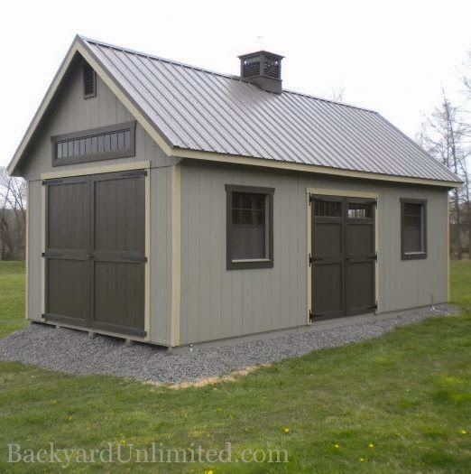 12x24 custom garden shed with tall walls additional large wood doors - Garden Sheds With Windows
