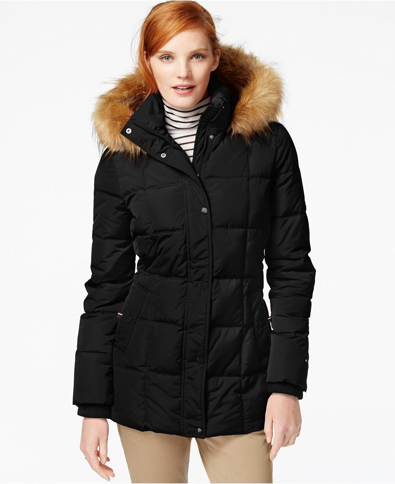Tommy Hilfiger FauxFurTrim Quilted Puffer Coat Coats