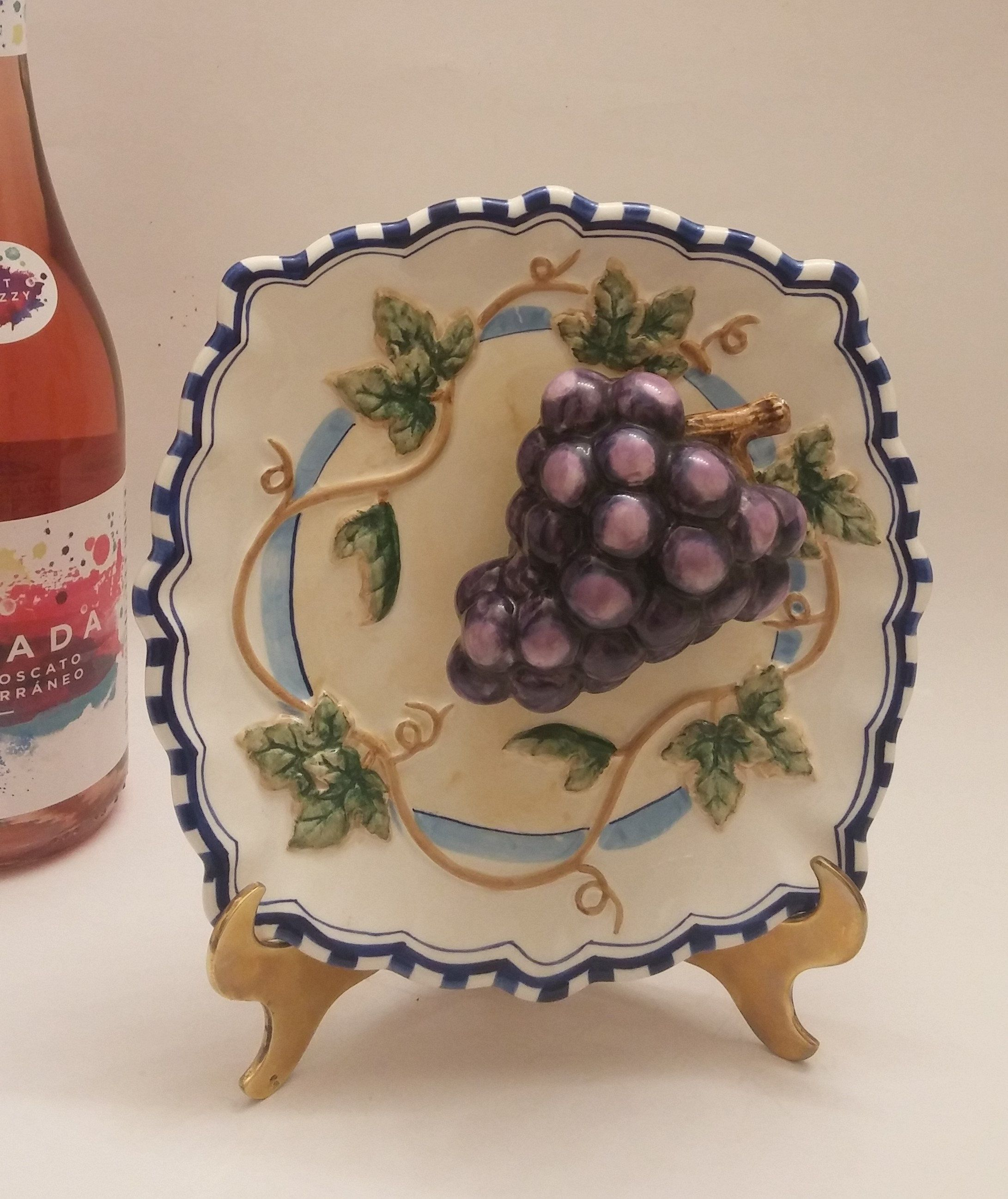 Vintage Bella Casa By Ganz 8 Inch Decorative Plate G Wall Hanging Fruit Grape Millysattictreasures On Etsy
