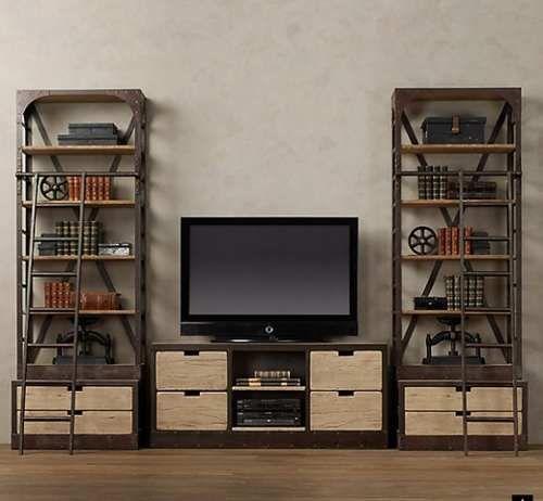 hermosa hierro y madera reciclada