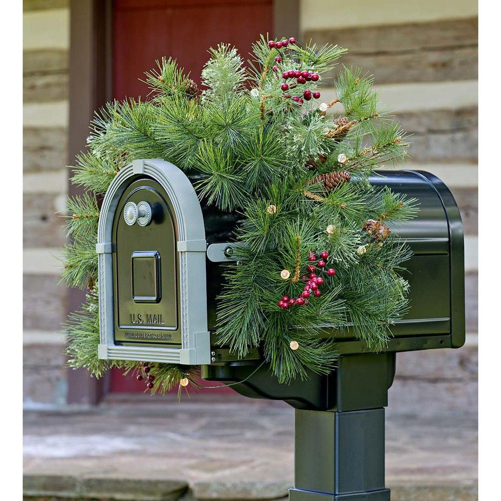 Lighted Holiday Mailbox Swag With BatteryOperated Auto