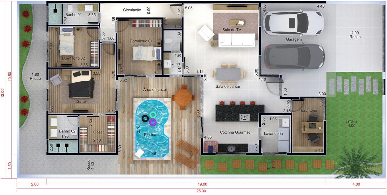 Planta de casa t rrea com piscina planta para terreno for Plano alberca