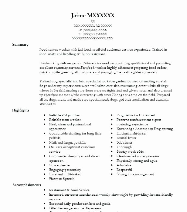 71 beautiful gallery of resume work experience examples restaurant