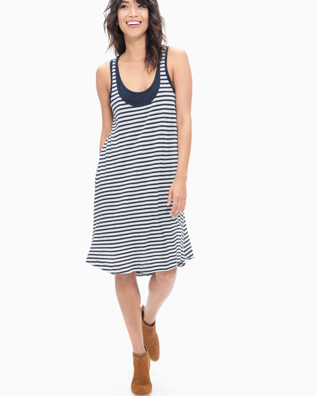 1b34423867e7 Rayon Jersey Flutter Sleeve Dress Black - SPLENDID Striped Tank, Flutter  Sleeve, Swing Dress