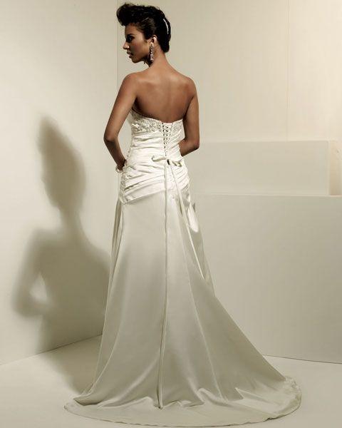 Strapless dropped waist A-line satin wedding dress  Read More:    http://weddingspurple.com/index.php?r=strapless-dropped-waist-a-line-satin-wedding-dress.html