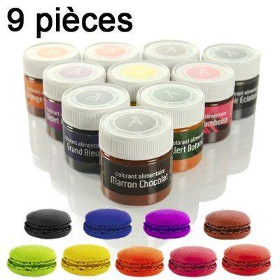 Colorant alimentaire, artificiel, bleu, jaune, vert, rouge, noir, violet, rose, orange, marron