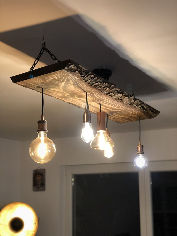 Lamp Lampe With A Little Imagination You Get A Great Lamp From A Wooden Board An Absolute Eye Catcher Right Bras Appartment Decor Rustic Lighting Decor