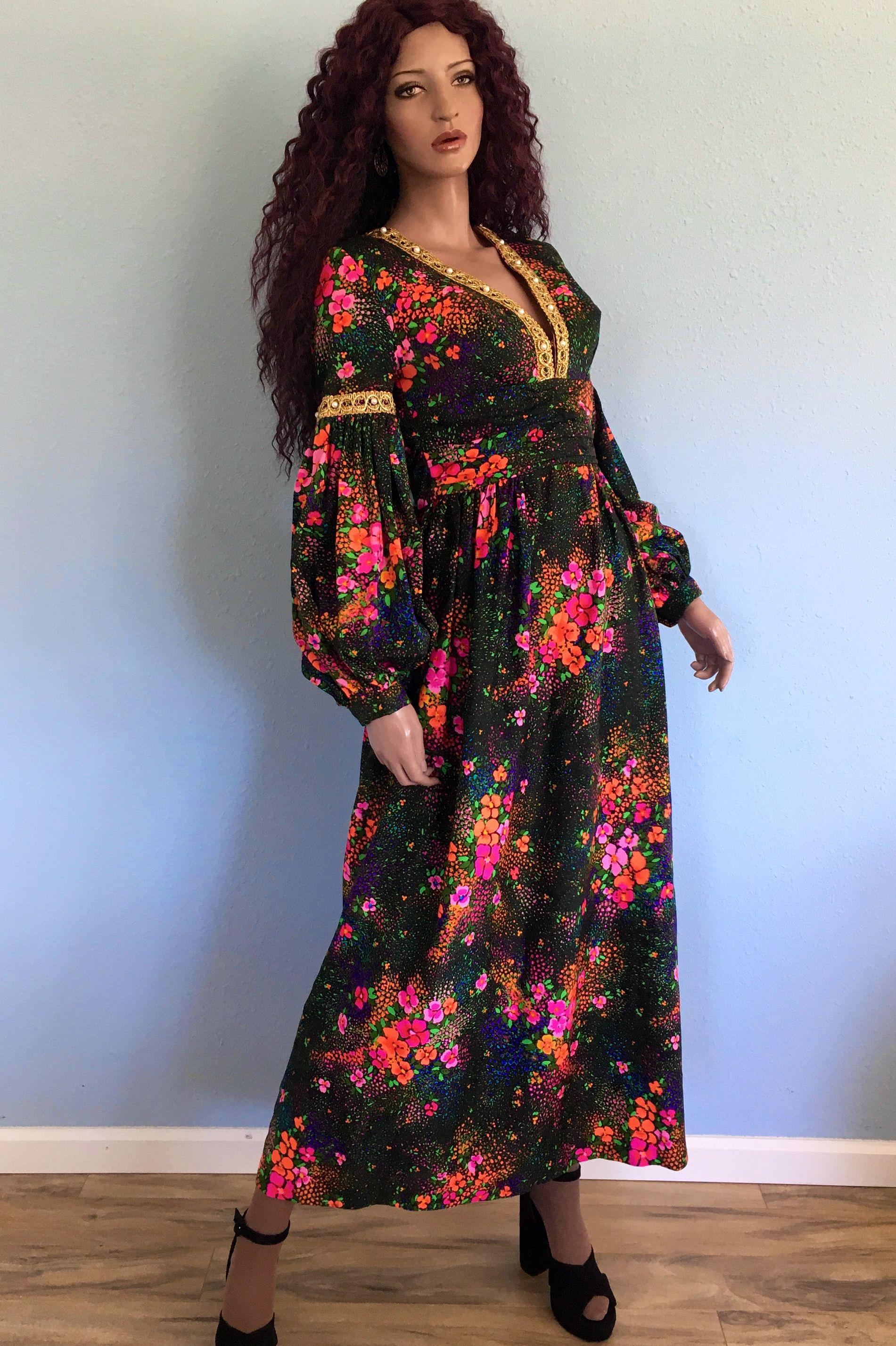 70s Psychedelic Barkcloth Maxi Dress Medium Vintage Boho Etsy Dresses Floral Outfit Women Dress Online [ 2853 x 1901 Pixel ]