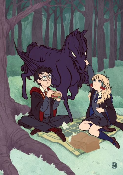 """arst: """" Made this for a Harry Potter fanbook about a year ago. I love their odd friendship, wish they had hung out more often in the book. """""""