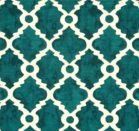 fabric teal blue green geometric home decor fabric by the yard designer drapery or upholstery - Home Decor Fabrics By The Yard