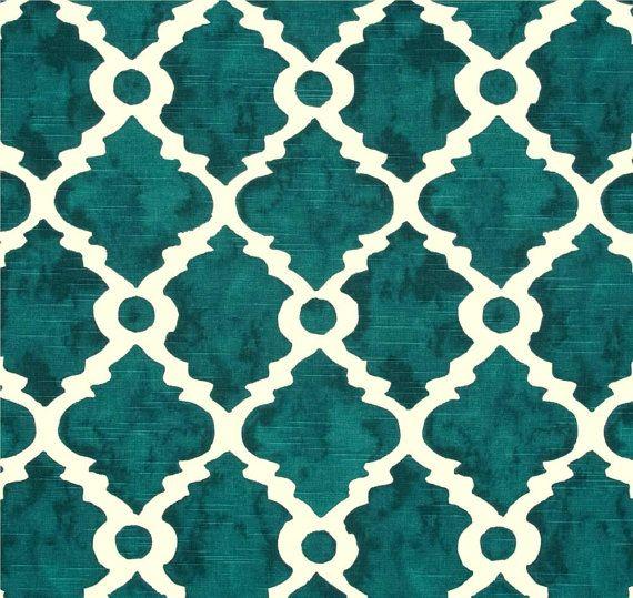 Fabric Teal Blue Green Geometric Home Decor Fabric By The Yard