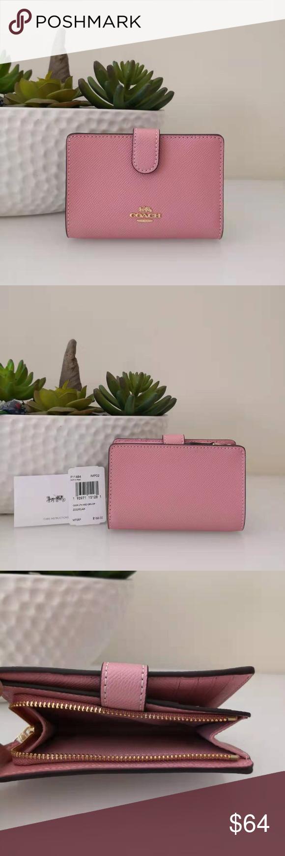 NWT Coach F11484 Medium Corner Zip Wallet in Crossgrain Leather Pink Petal