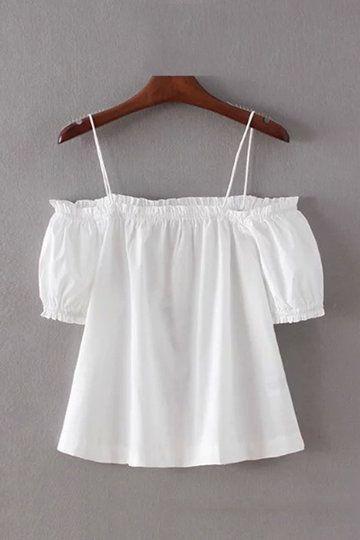 936b6ef1ea30d White Off Shoulder Thin Strap Top