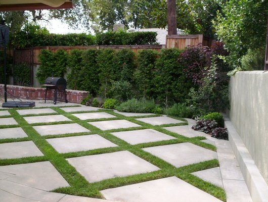 grass/groundcovers in between concrete to create a softer ... on Backyard Ideas Concrete And Grass id=75343