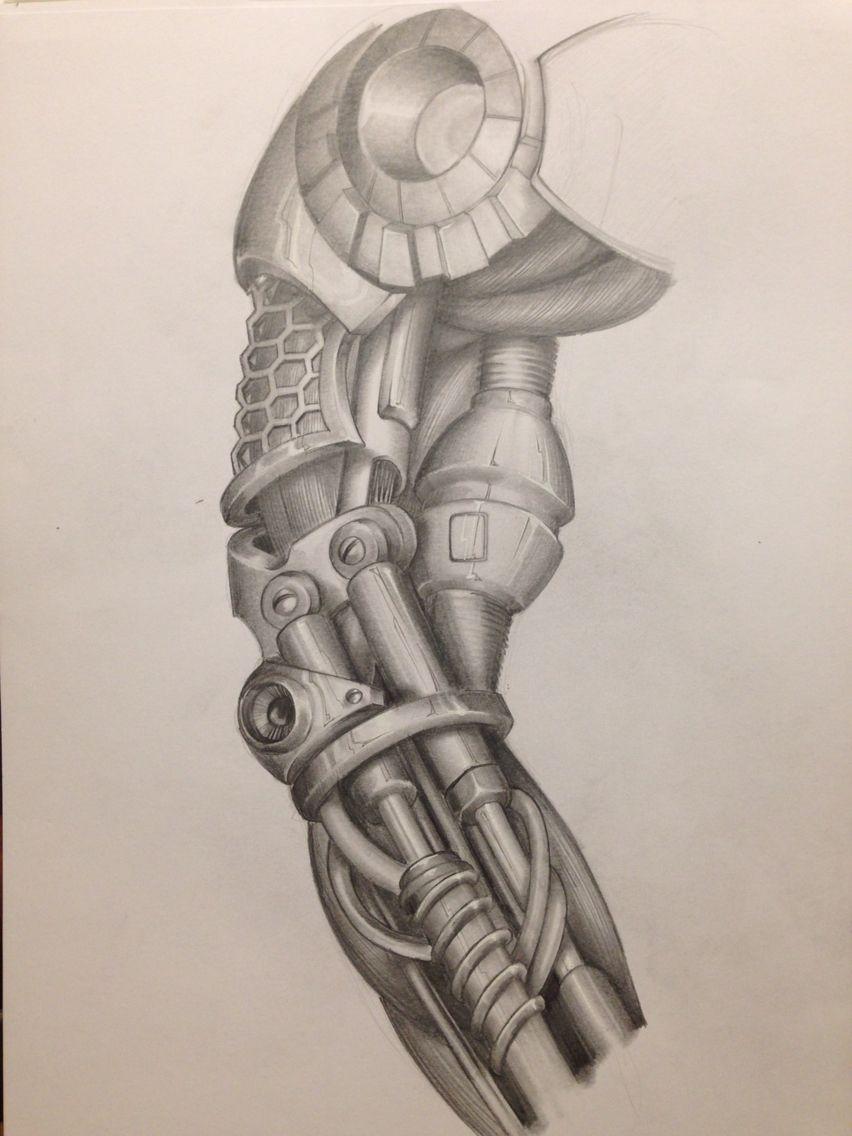 Tattoo arm cyborg mechanic biomechanic drawing bras for Forearm tattoo sketches