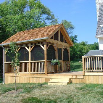 Deck and detached screened room gazebo yelp outdoor for Detached screened porch plans