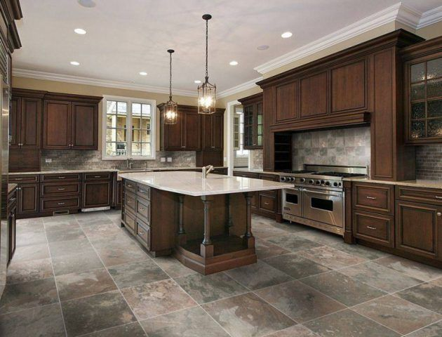 17 Flooring Options For Dark Kitchen Cabinets Kitchen Tiles Design Luxury Kitchen Design Kitchen Floor Tile