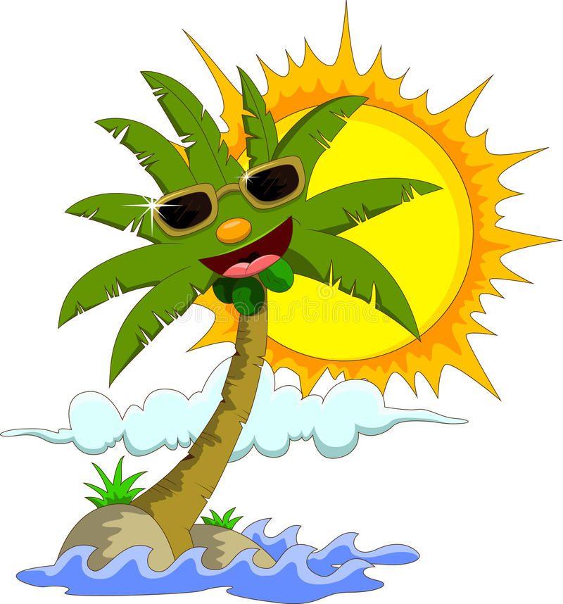 Ilustracion Acerca Vector El Ejemplo De La Isla Tropical Con La Palmera Y El Sol De La Historieta Ilustrac Colores En La Publicidad Ilustracion Tropical Islas