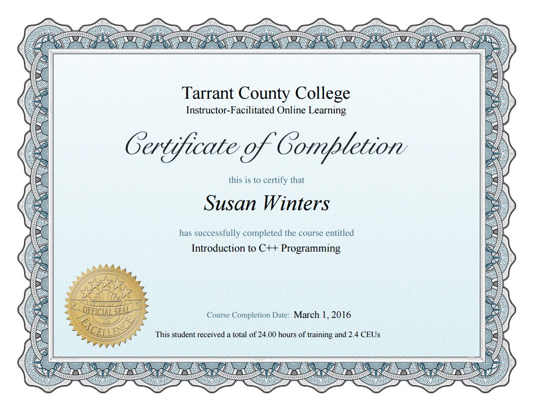 Tarrant County Community College - Certification of Completion ...