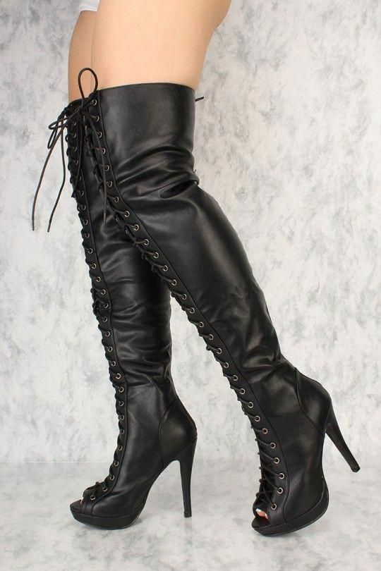 ec7b6fcde9 Black Lace Up Thigh High Heel Boots Faux Leather #Platformhighheels ...
