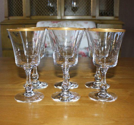 vintage fostoria richmond gold rim water goblets set of 6 stemware wine glasses - Water Goblets