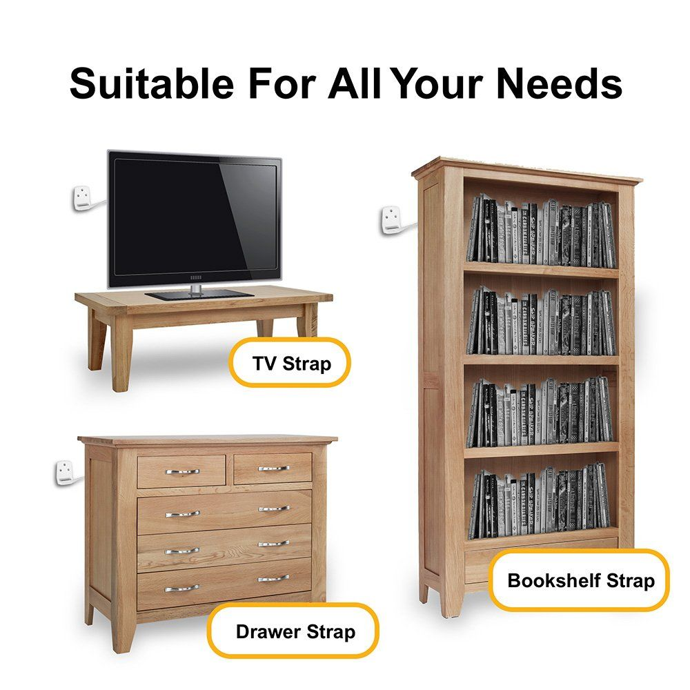 Ellas Homes Furniture And Tv Anti Tip Straps Adjustable Earthquake
