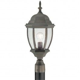One-light die-cast aluminum outdoor post lantern in Painted Bronze finish with clear beveled glass panels. By Thomas Lighting