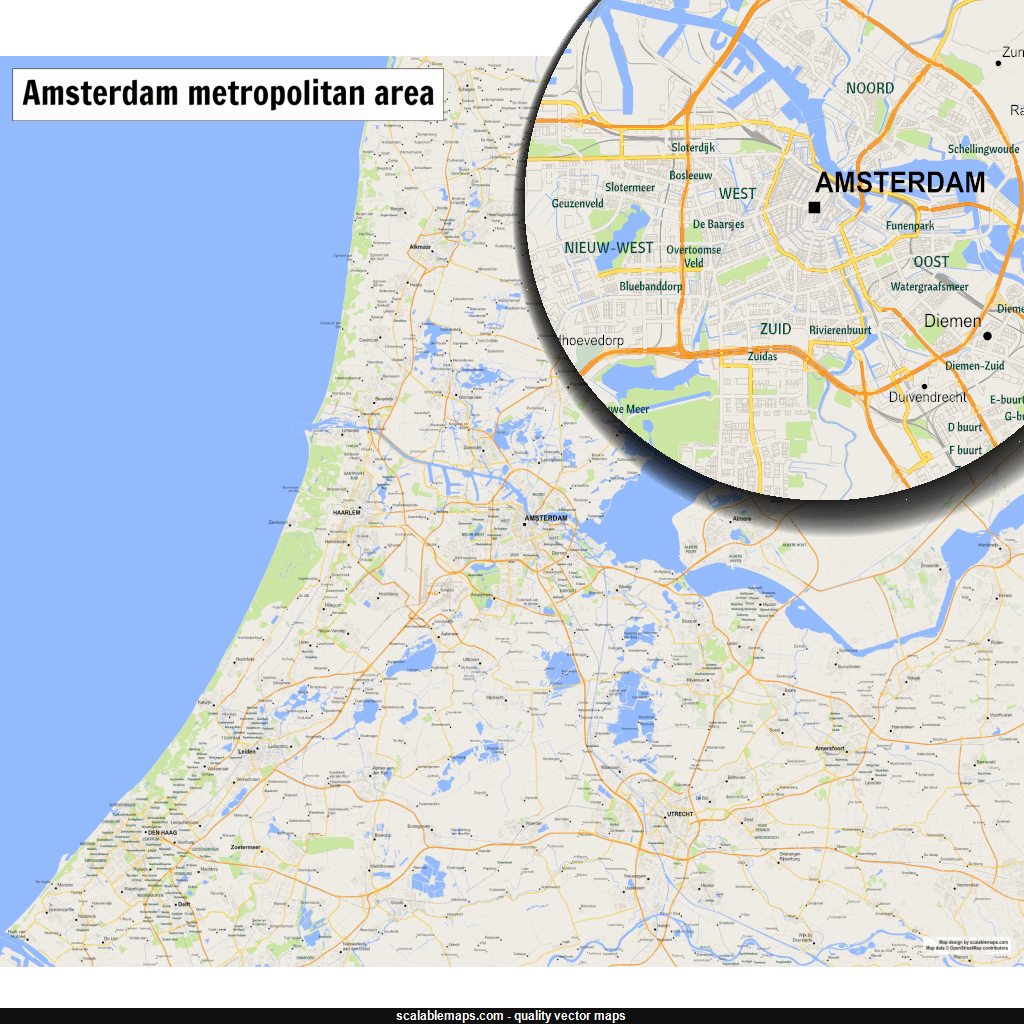 New SVG vector map A map of area around Amsterdam Den Haag and