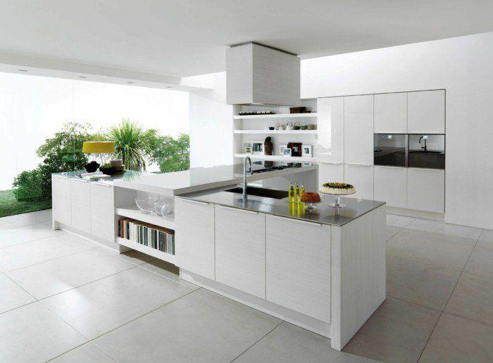 53 Variantes Pour Les Cuisines Blanches Cuisine Moderne Cuisine Moderne Blanche Meuble Cuisine Blanc