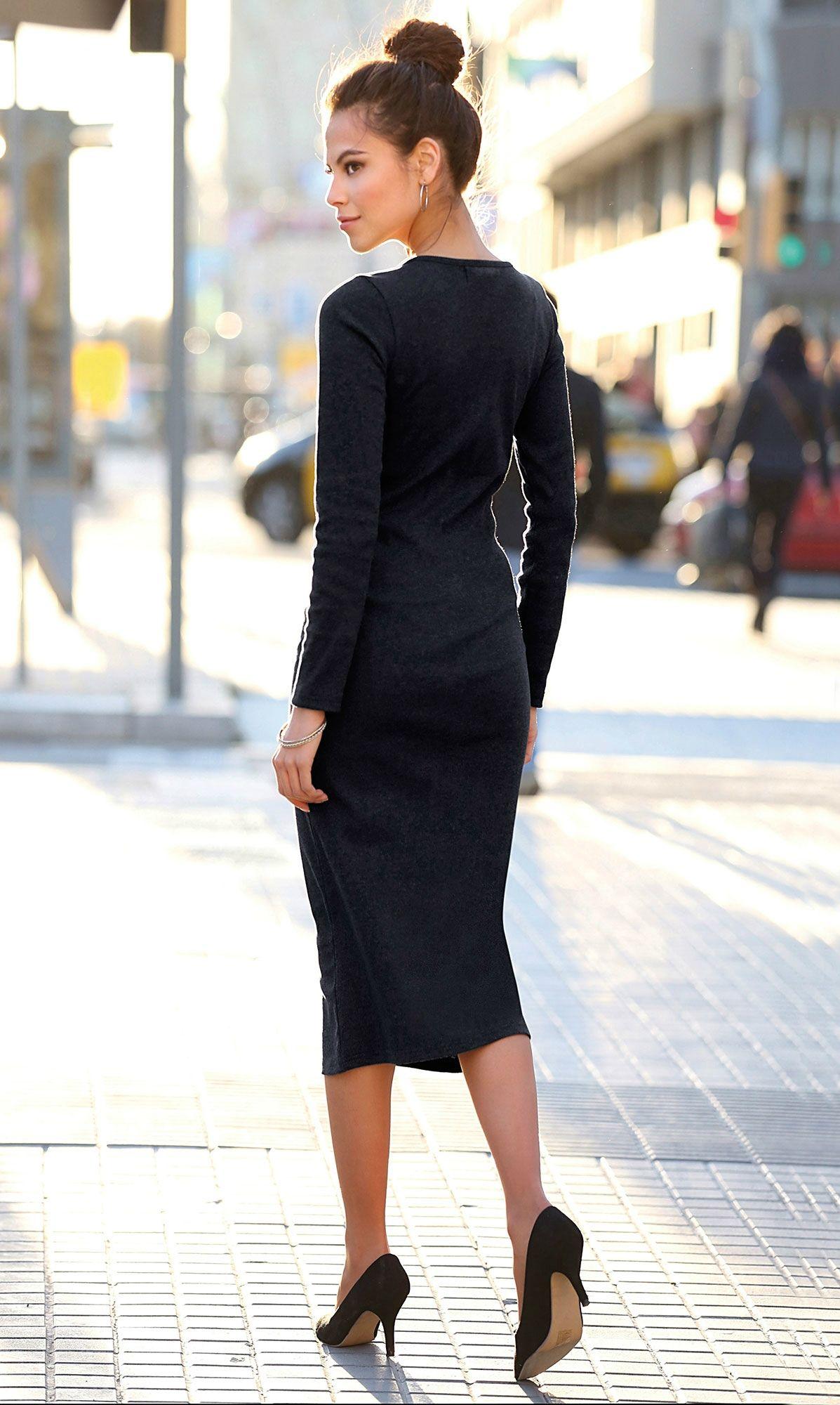 59964561ca53e Robe mi-longue en tricot col bateau manches longues femme Exclusivité  3SUISSES - Noir