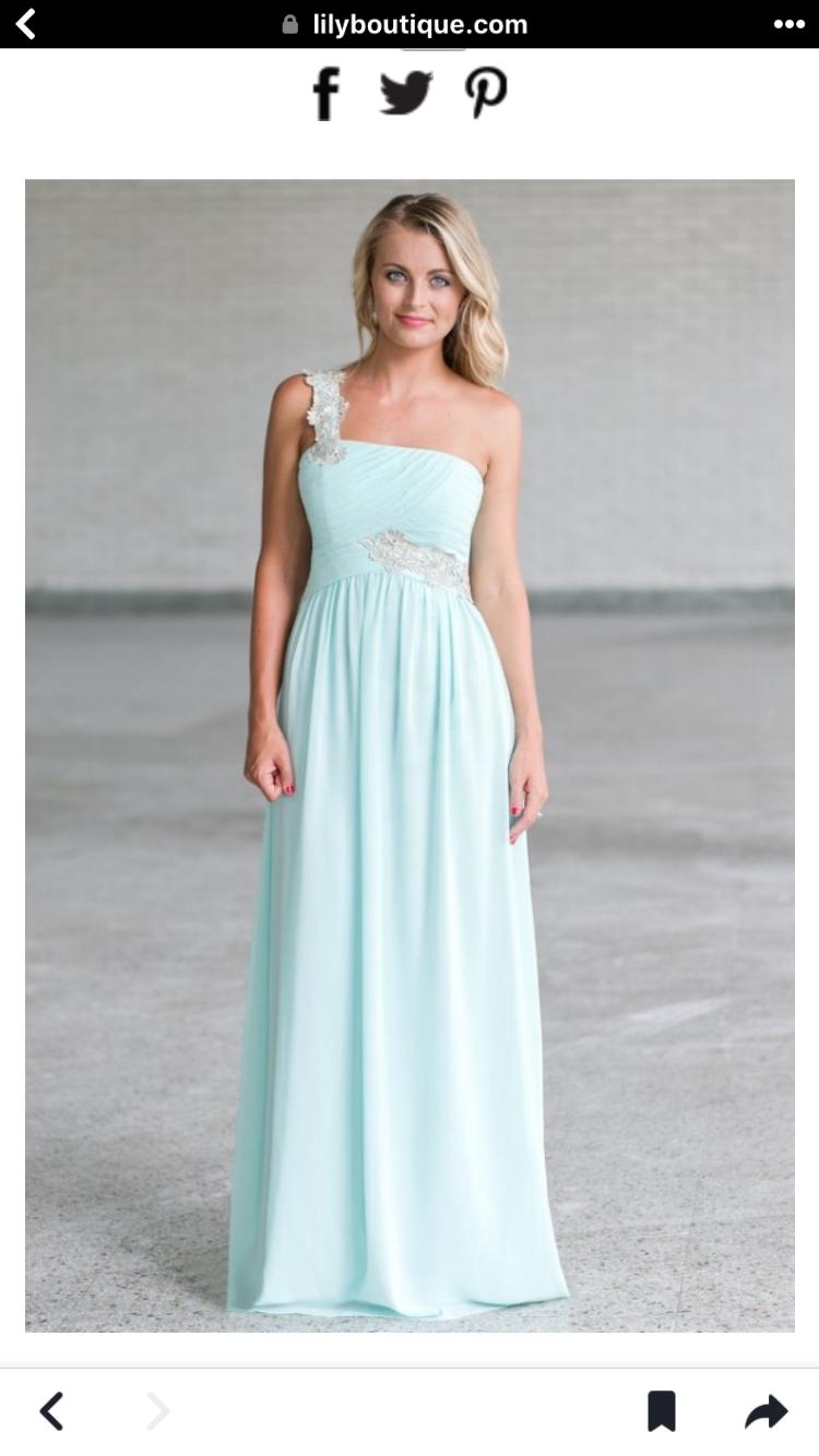 Green dress one shoulder  One shoulder  Bridesmaid  Pinterest