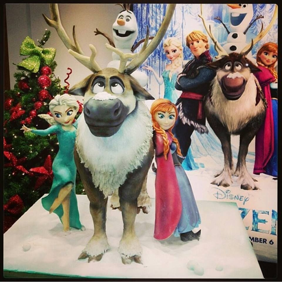Disney Frozen sculpted cake measuring 4ft tall, featuring Sven, Olaf, Elsa and Anna. This was made for The Walt Disney Company