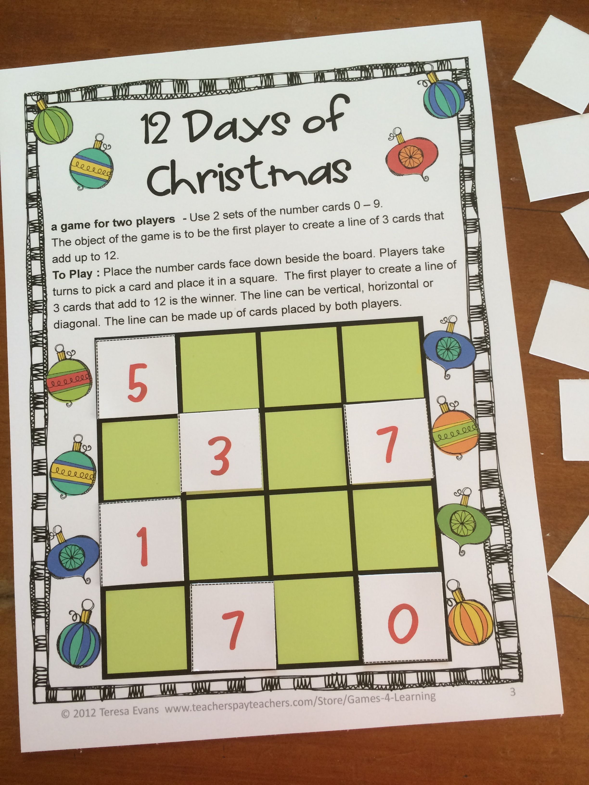 FREEBIE - Christmas Math Games by Games 4 Learning contains 2 ...