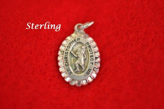 M DeJean Sterling Silver St Christopher Protect Us Medal/Charm