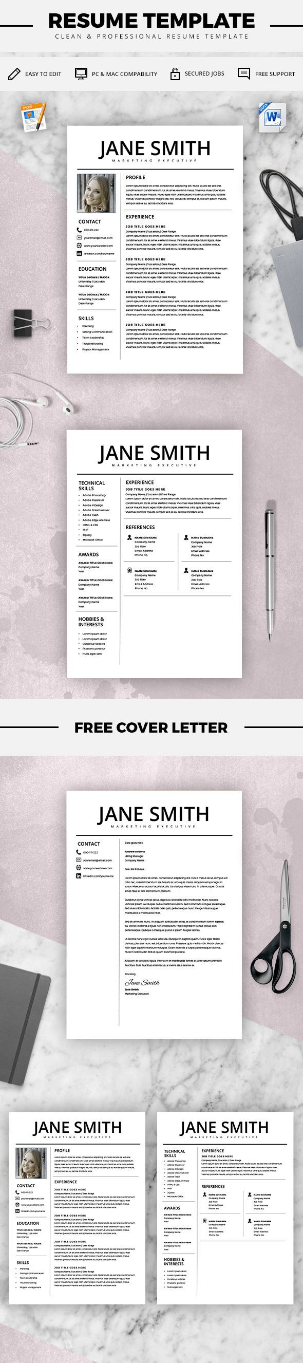 Professional Resume Template   MS Word Compatible   Best CV Template +  Cover Letter   Mac