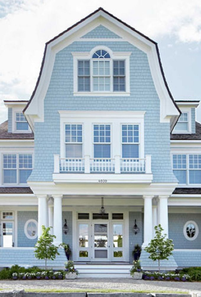 Baby Blue Bright White With Images House Exterior Blue